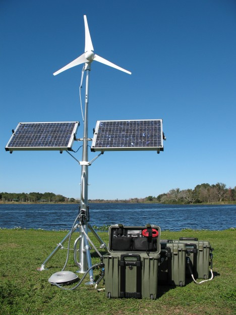 Solar Stik with added wind turbine