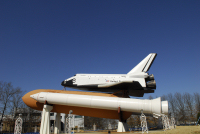 This replica of the Space Shuttle stands proudly at the Marshall Space Flight Center
