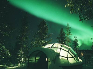 The ice hotel presents an amazing panorama of winter's spectacle