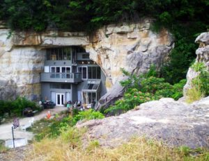 A couple created an unusual home from this sandstone cave