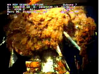 Underwater view of oil gushing after the temporary cap broke at BP's rig