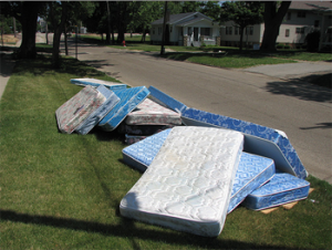 Mattresses on road