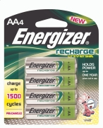 Energizer's new Recharge batteries are faster and longer lasting than other rechargeables.