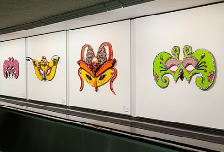 Carnival Masks by Dana Albany are featured in the Recology exhibit