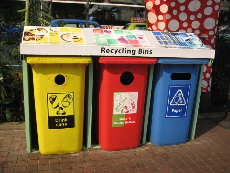 Recycling bins in San Jose, CA