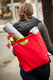 The Grocer can be configured as a backpack, worn over the shoulder or used as a messenger tote