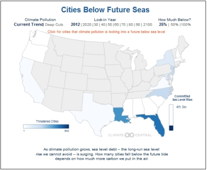 Cities and Ses Level Rise map