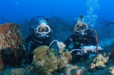 Fabien Cousteau and  fellow aquanaut Adam Zenone explore the ocean during Mission 31. Photo credit Kip Evans