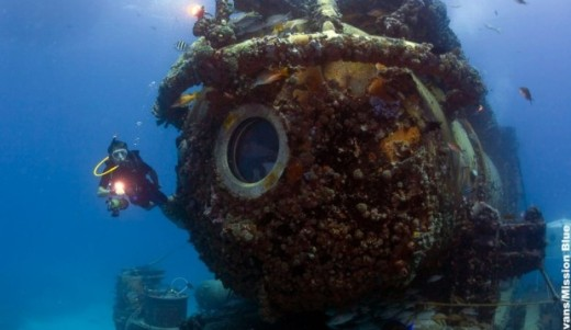 The Aquarius underwater habitat that ws Fabian Cousteau's home for 31 days