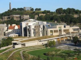 Even the Scottish Parliament building features solar panels