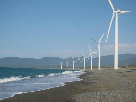 Wind turbines on the coastline