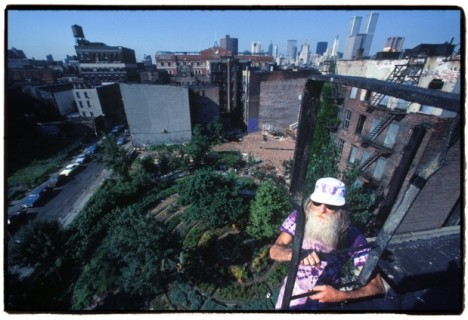 Adam Purple above his now demolished Garden of Eden on NYC's Lower East Side, photo by Harry Wang