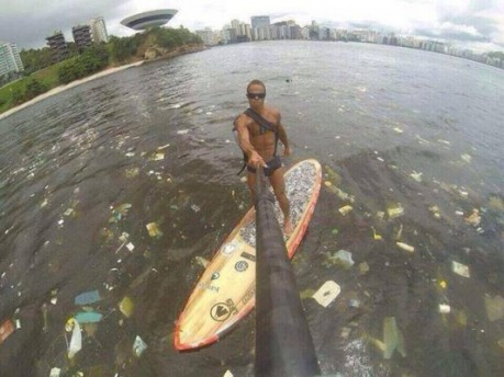 Polluted waterway where Rio Olympic events will be held. Photo by Pieter van den Hoogenband